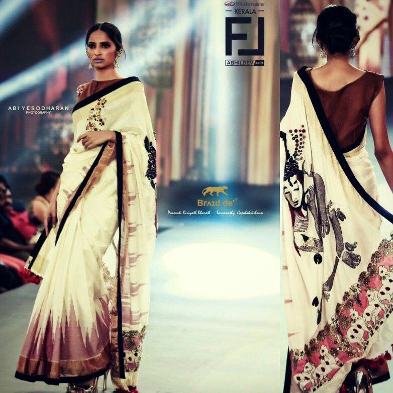 Ikat Kerala Saree Braid De'® Paarvati Saraswathy Kerala