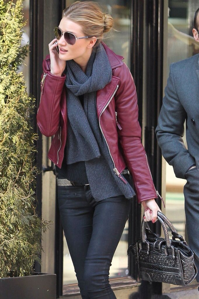 Wine jacket and gray muffler Red leather jacket outfit