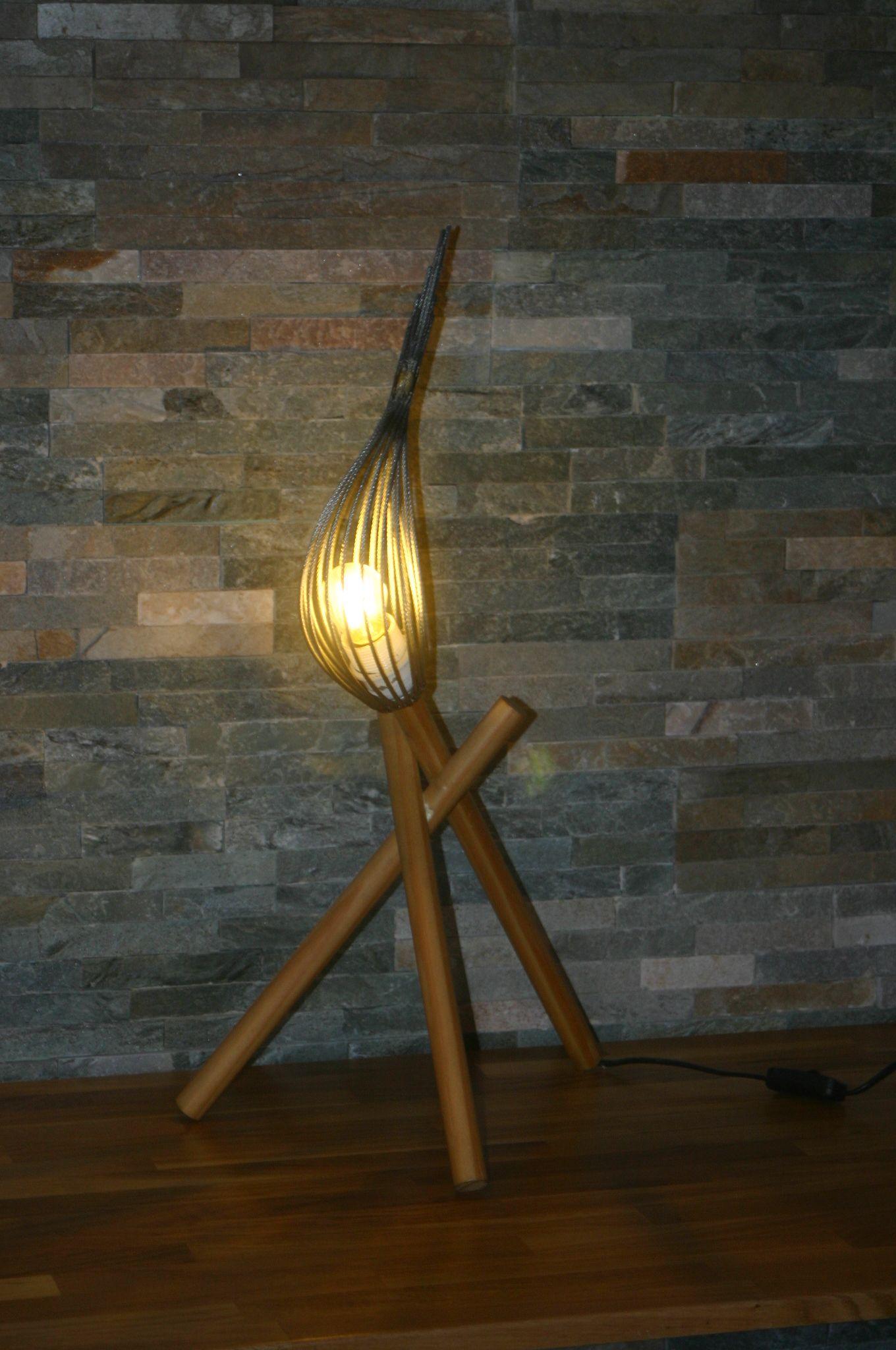 Hauteur 55€Lampes Et Filin D'acier E27 Bois Lampe Led 65cm 2w tshQdr