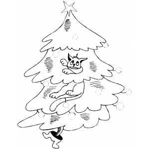 cat on christmas tree printable coloring page free to