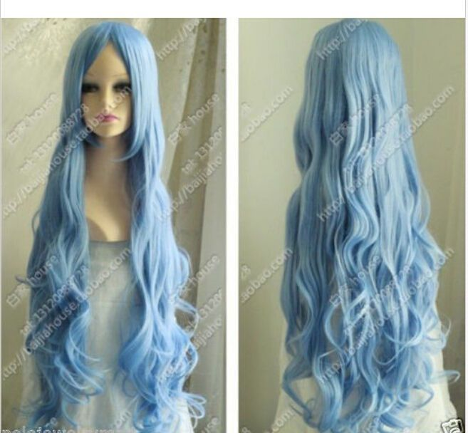 New Cosplay Cos Light Blue Long Curly Heat-Resistant Wig 80cm #Unbranded #FullWig