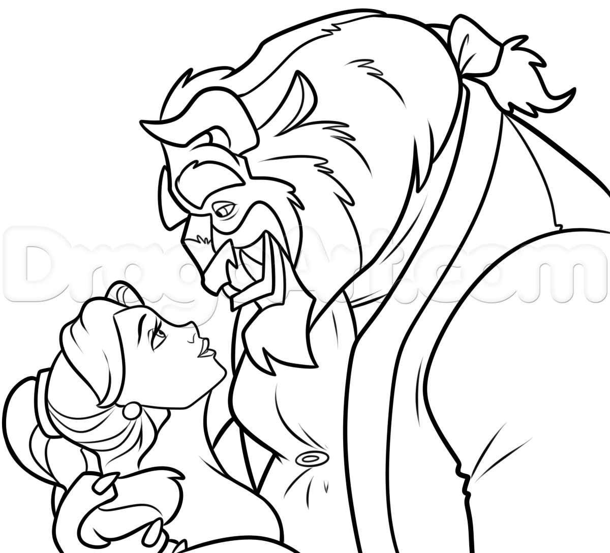 How To Draw Belle And Beast Step 10