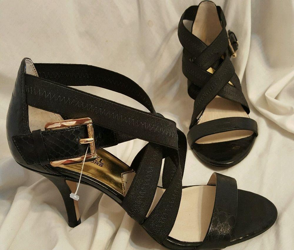 Black dress sandals medium heel - Details About Michael Kors Shoes Sz 8 M Black Leather Open Toe Dress Sandal Mid Heel Strappy