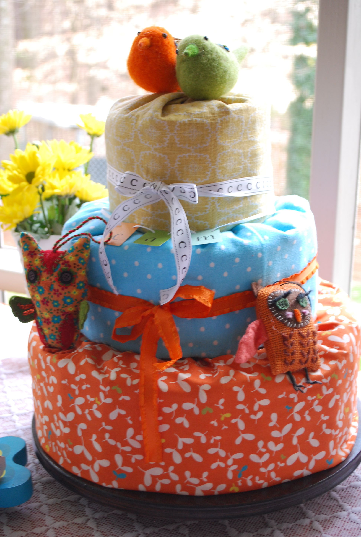 Orange and Blue Bird/Owl Diaper Cake