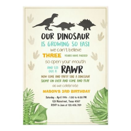 Dinosaur birthday party invitation order your personalized dinosaur birthday party invitation order your personalized birthday invitations at boardman printing visit stopboris Image collections