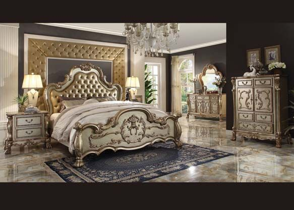 Acme 23160 Dresden Gold Patina And Bone Finish Victorian Bedroom Set With Leather Tufted Headboard