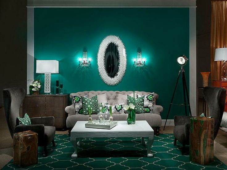 Art Deco Inspired Interior Teal Living Rooms Living Room Green Living Room Colors