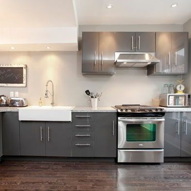 I Love This Type If Grey And Glossy Kitchen Easy Maintenance - Glossy grey kitchen