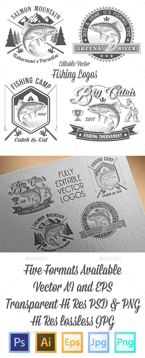 Vector Editable Fishing Logos - PSD, Transparent PNG, JPG Image, Vector EPS, AI Illustrator