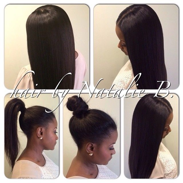 Middle Part Sew In Ponytail Weave Hairstyles Natural Hair Styles Hair Inspiration