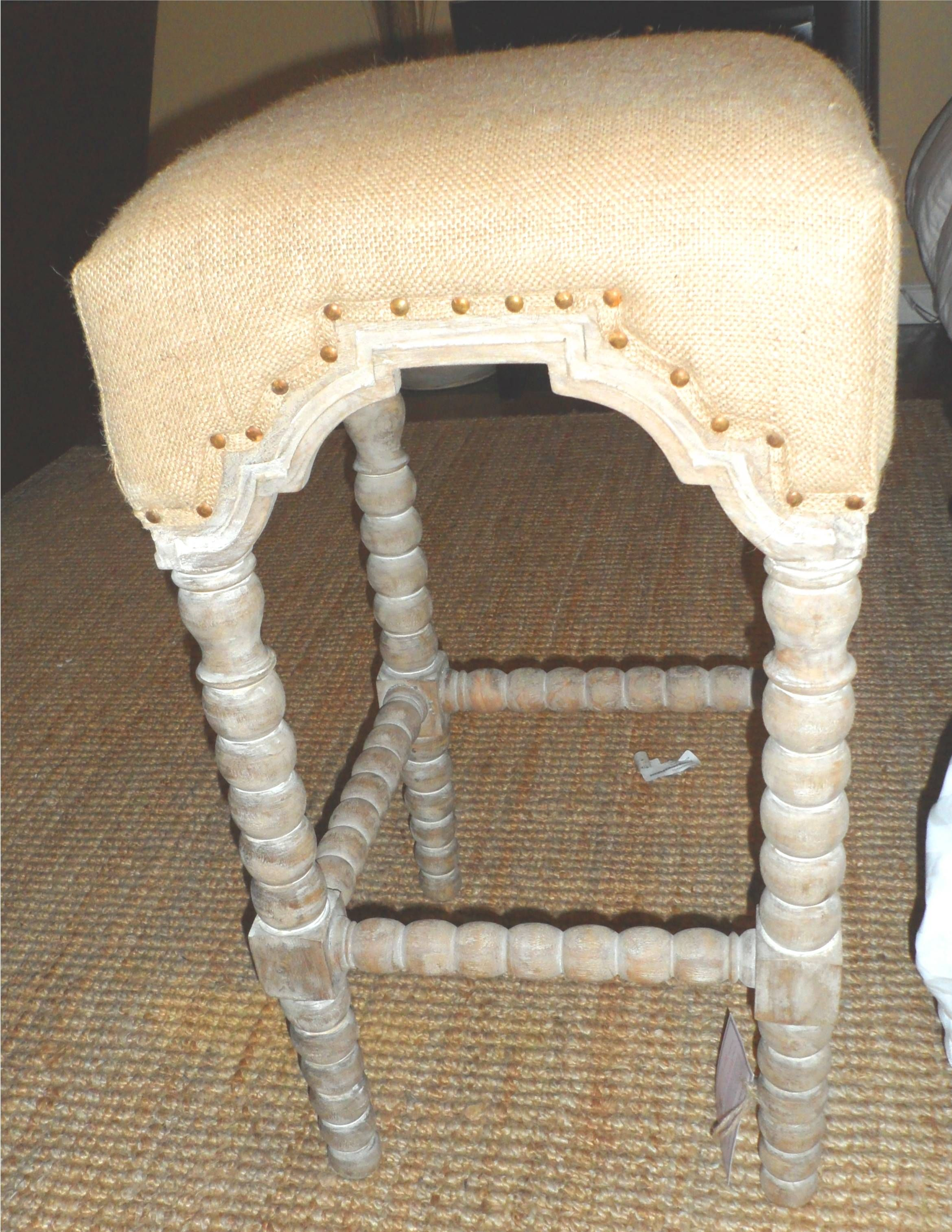 Bobbin Leg Bar Stool W Burlag Seat Made Of Natural