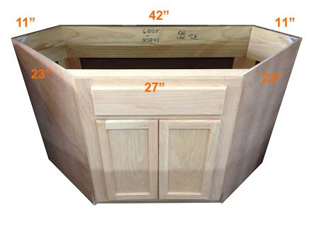 Diagonal Corner Sink Base Cabinet Unfinished Poplar Shaker Style 42 Corner Sink Kitchen Corner Sink Base Cabinets