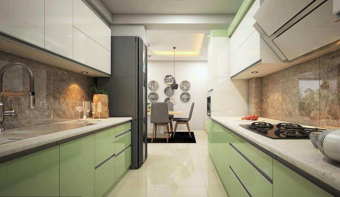 Parallel kitchen with green and white cabinets and marble ...