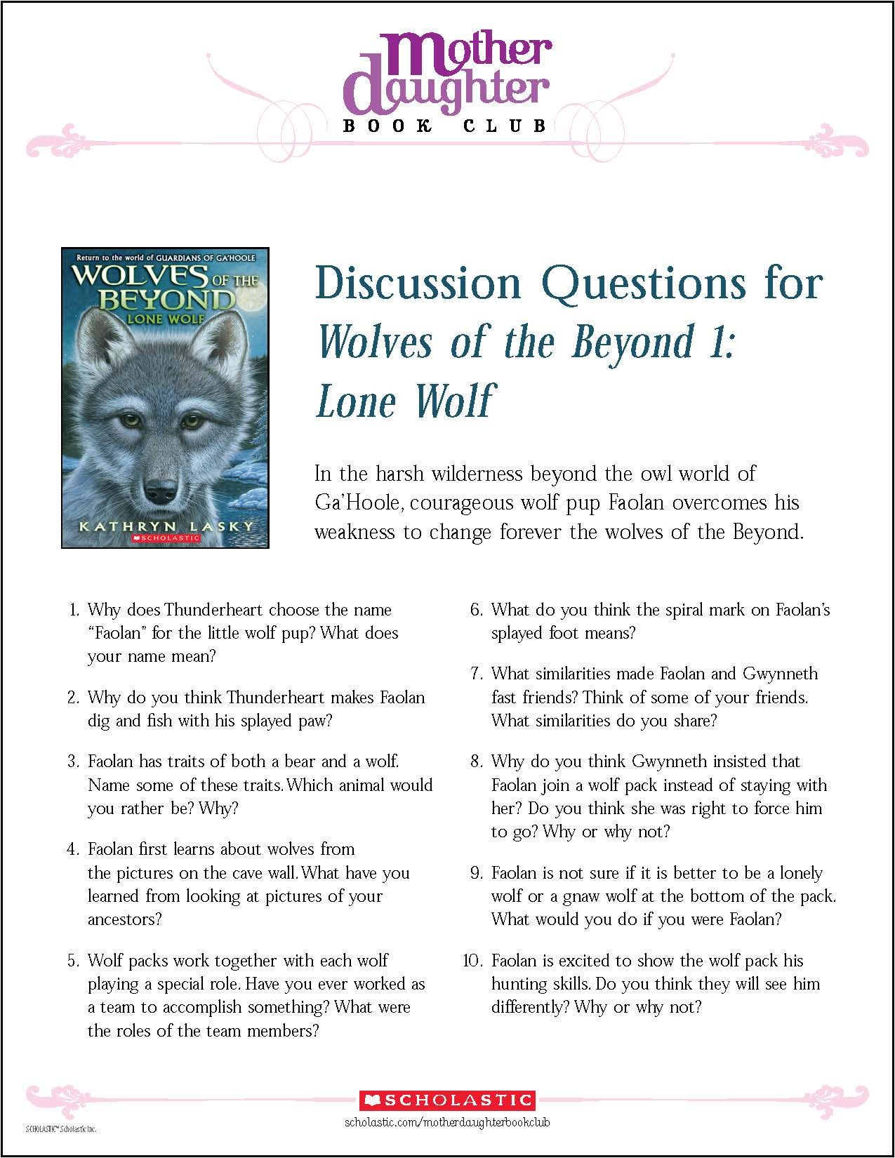 Discussion Questions For Wolves Of The Beyond 1: Lone Wolf By Kathryn Lasky