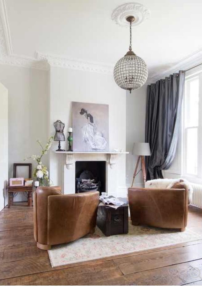 Two Chairs In Front Of Fireplace In The Other Living Room London Living Room Rustic Living Room Living Room Tiles