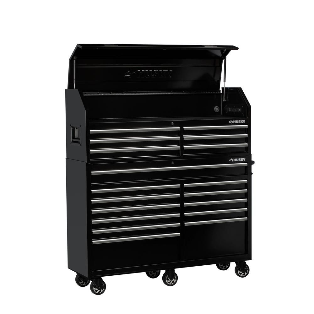 Husky 61 In W 18 Drawer Combination Tool Chest And Rolling Cabinet Set In Gloss Black H61ch6tr12 The Home Depot Tool Chest Tool Storage Tool Storage Cabinets