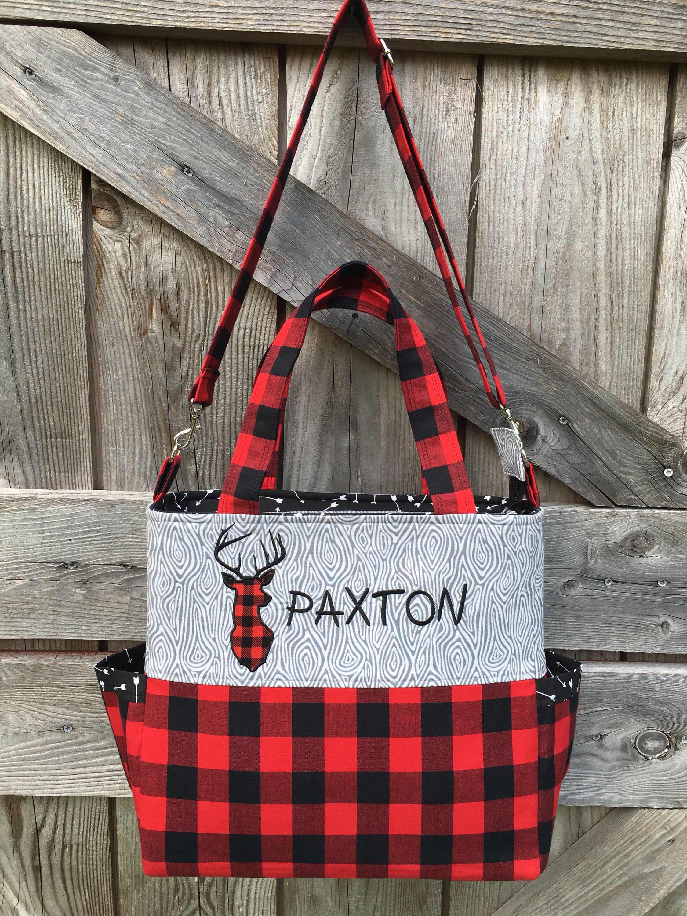 Buffalo Plaid Diaper Bag Red And Black Check Deer Bottle Pockets Tote Woodland Lumber Jack Baby Stuff