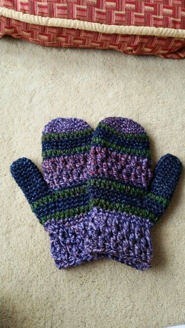 First pair of crocheted mittens
