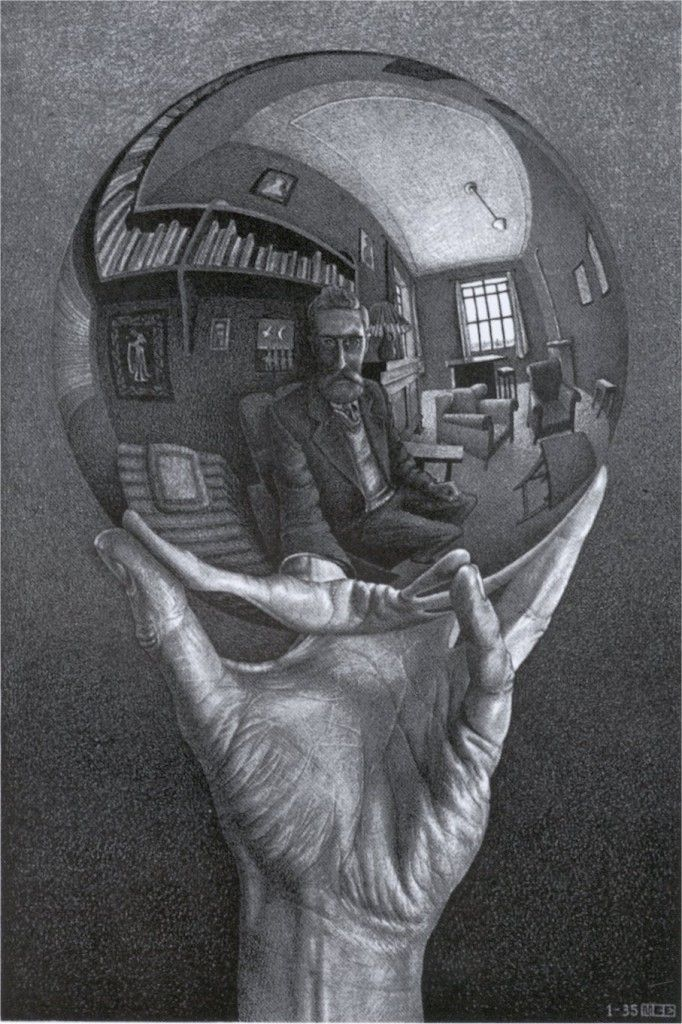 Hand with Reflecting Sphere 1935 Lithograph-m c escher