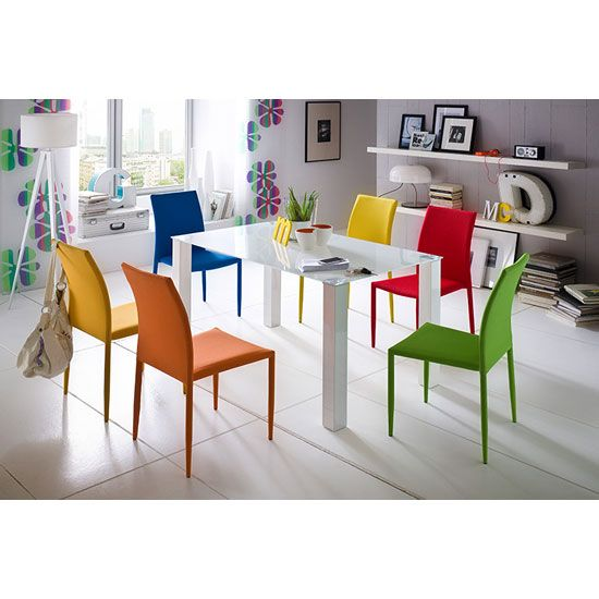 Hanna Rectangular Glass Dining Table With 6 Mila Chairs Glass