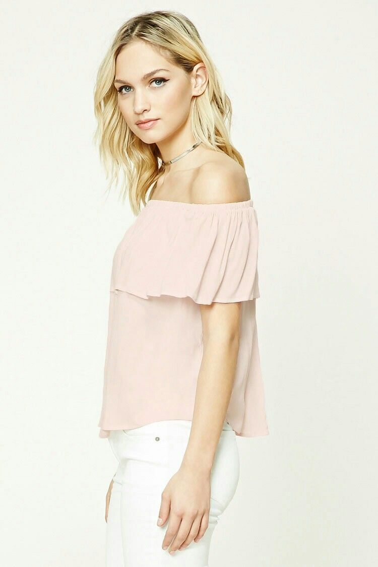 377a2eb0e66143 Forever 21 Contemporary Flounce Top Off Shoulder Top Light Pink