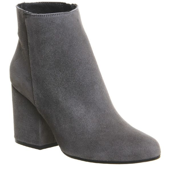 Office Ink Block Heel Boots (140 AUD) ❤ liked on Polyvore featuring shoes,.  Gray ...