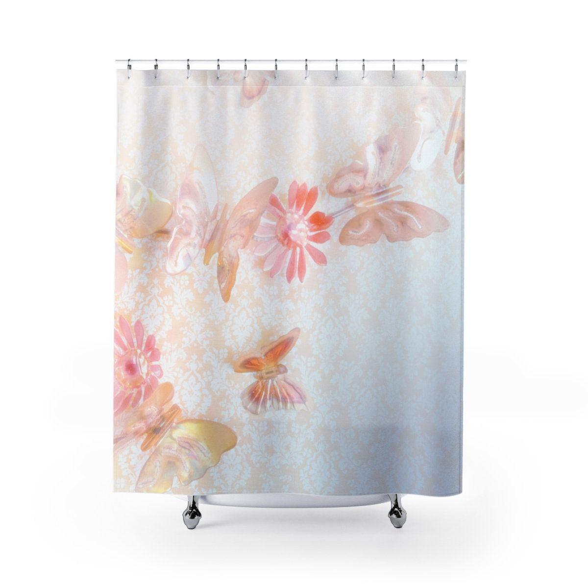 Butterfly Shower Curtain Elegant Pastel Butterflies Floral Shower