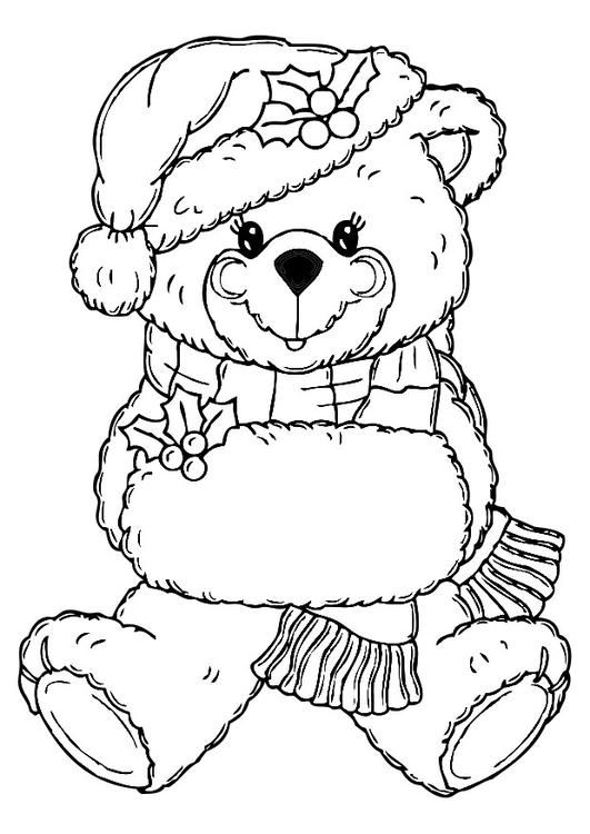 Coloring Page Christmas Bear Coloring Picture Christmas Bear Free