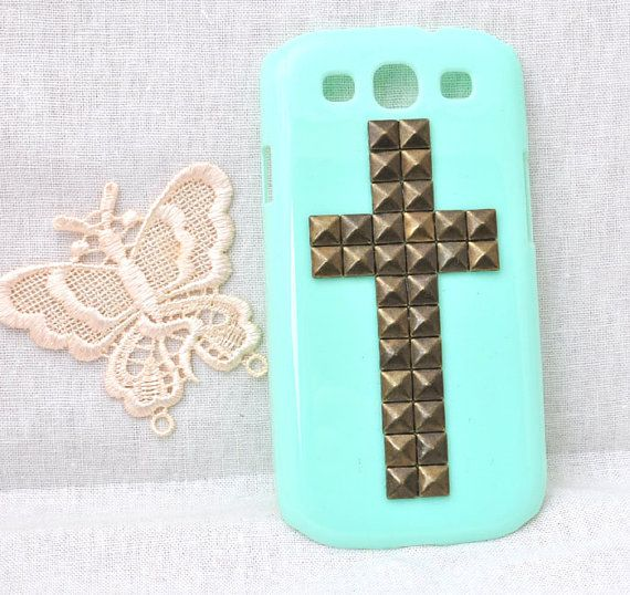 mint green cell phone case for Samsung Galaxy s3 i9300 protective hard cover with bronze  rivet studs cross