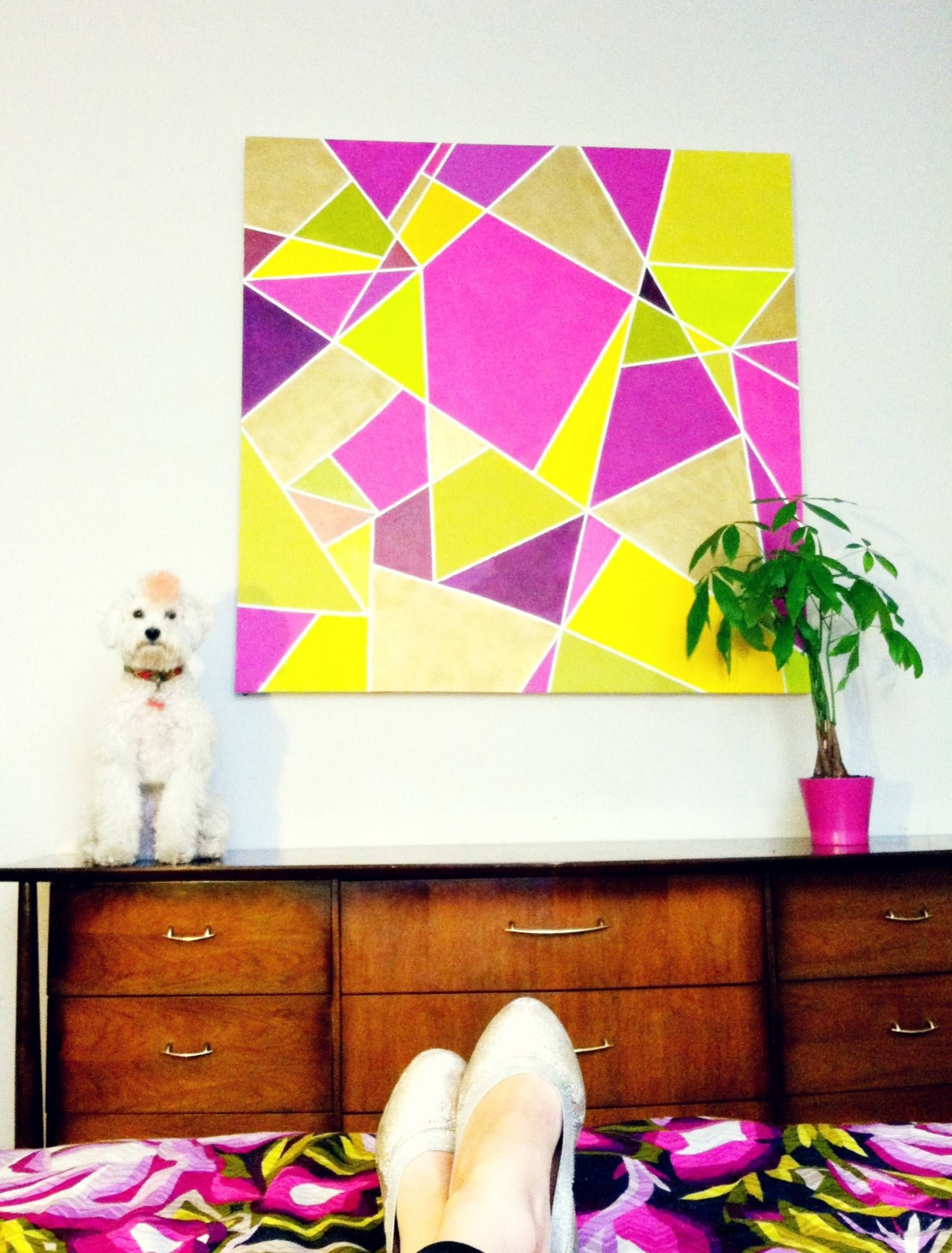 Geometric DIY wall art (plus a cute dog pretending to be a statue ...
