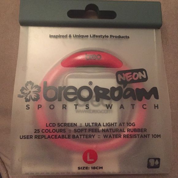 Breo Roam Sports Watch, pink, Large Hi, this is a fab sports watch from Breo. It is pink neon and size Large. Brand new and in the packaging, never been worn. Breo Accessories Watches