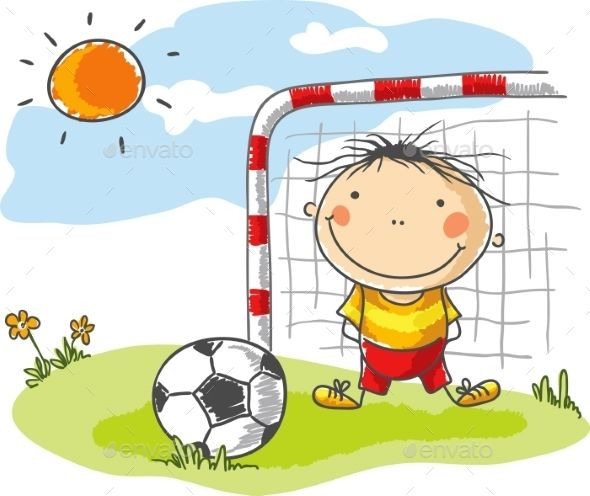 Boy Playing Football As A Goalkeeper Art Drawings For Kids Drawing For Kids Cute Drawings