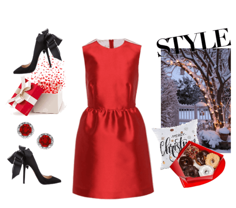 0702021a2a2 Holiday party Dress  holidayparty  holiday  party  reddress  dress  heels   pumps  blackheels  blackpumps  red  black  polyvore  shoplook  christmas    ...