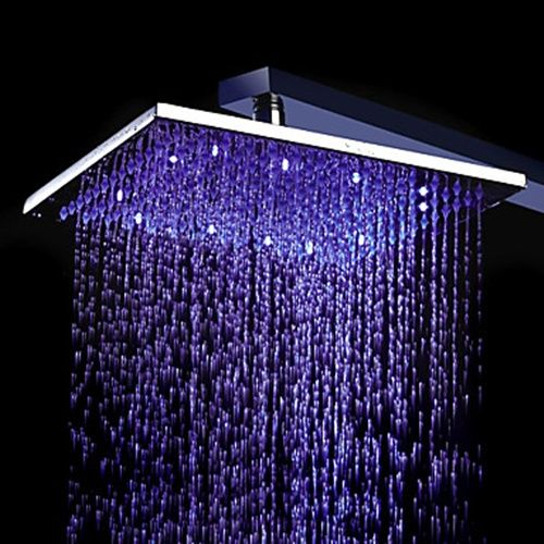 8 Inch Chromed Brass Square Led Rain Shower Head 0913 8104 Faucetsuperdeal Com Led Shower Head Led Color Changing Lights Shower Heads