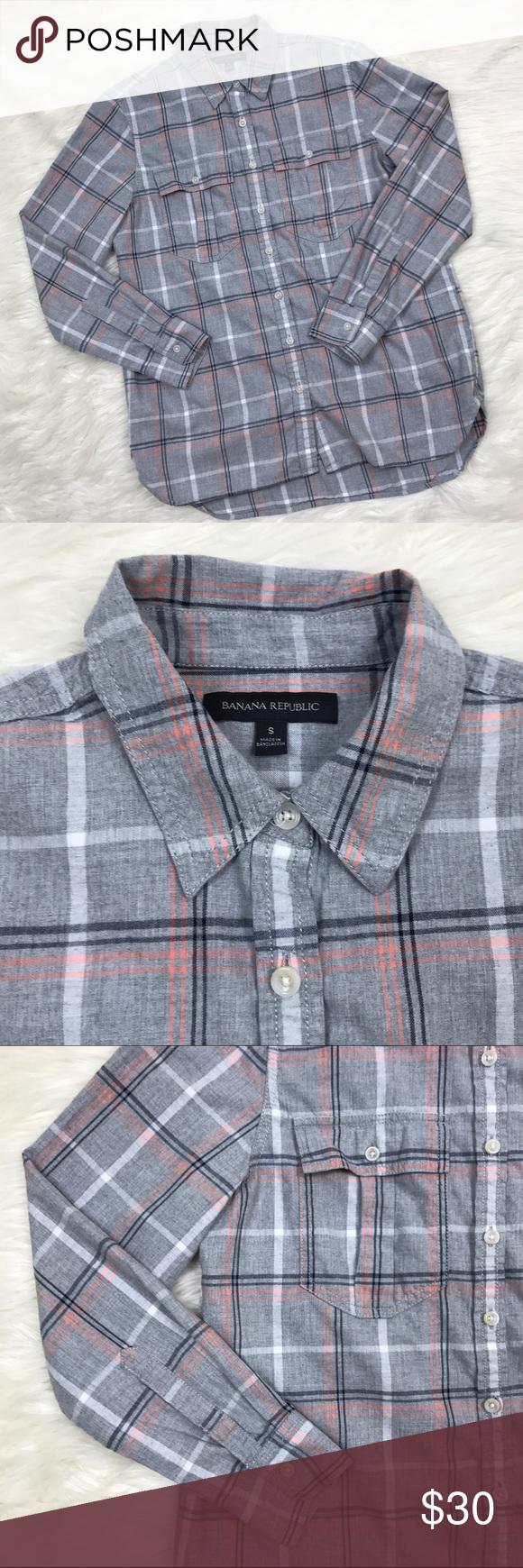 Flannel shirt black and grey  Banana Republic Gray Plaid Flannel Shirt Pockets Long sleeve