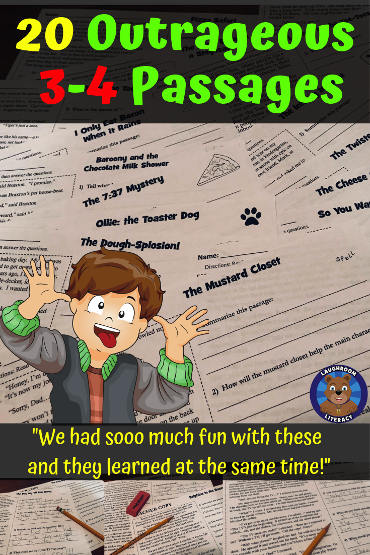 - Funny Reading Comprehension Passages And Questions W/ Two Levels