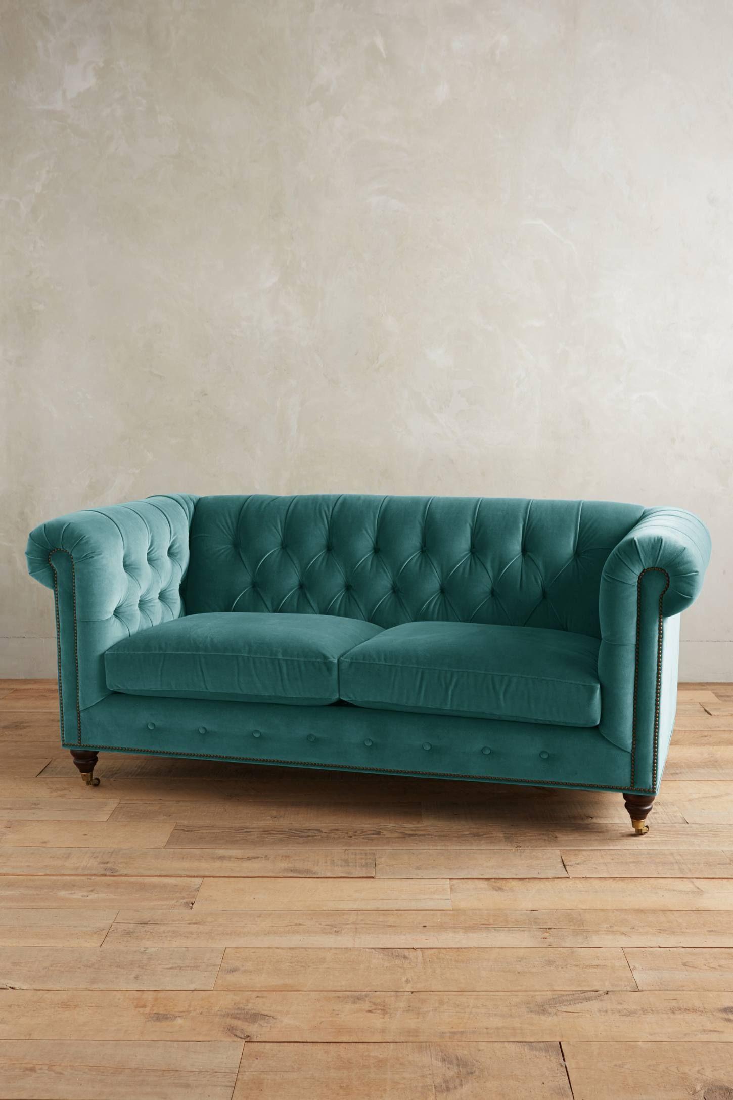Velvet Lyre Chesterfield Petite Sofa Hickory