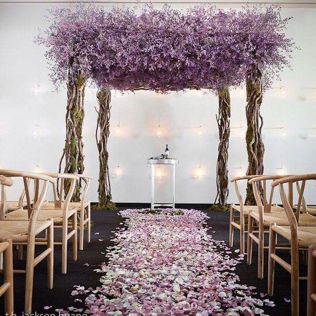Making a statement #shesaidspectacular#ikonica#ceremony#chuppah#lavender#limonium#wedding#rosepetals#aisle