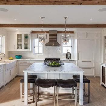 Calcutta Kitchen Island with Brown Leather Saddle Back Counter