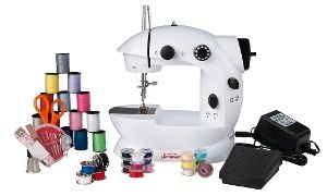 Small but mighty sewing machine has double-stitch capabilities & is ideal for quick repairs; kit includes thread, bobbins, scissors & more