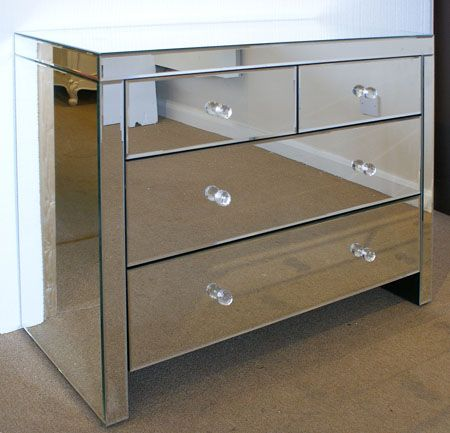 Venetian Mirrored  Drawer Chest Of Drawers Handles Fitted