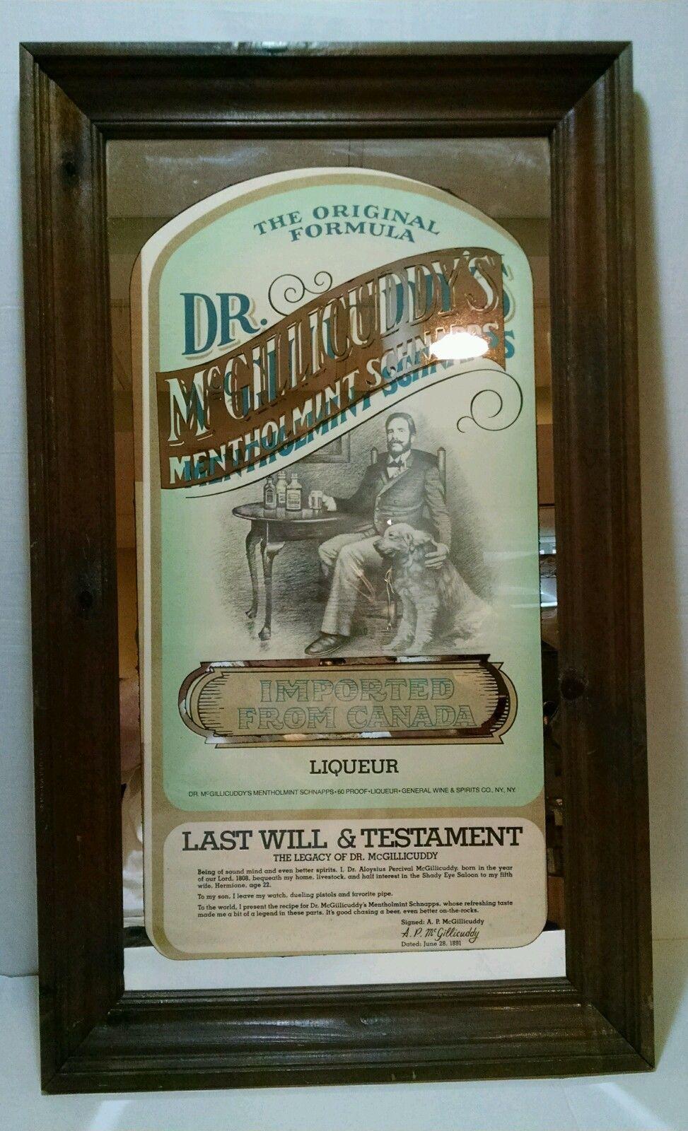 Large Dr. McGillicuddy\'s Liqueur Vintage Bar Mirror Last Will ...
