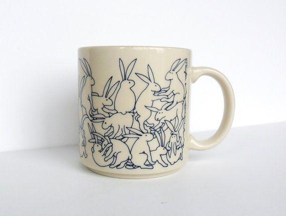 Taylor and Ng Rabbit Orgy Mug Blue on White Win Ng by OldLikeUs