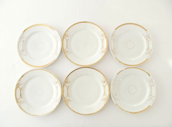 Antique Limoge Plates Gold And White Dinner By Allthingswhite Classic Dinnerware Holiday Glam Plates