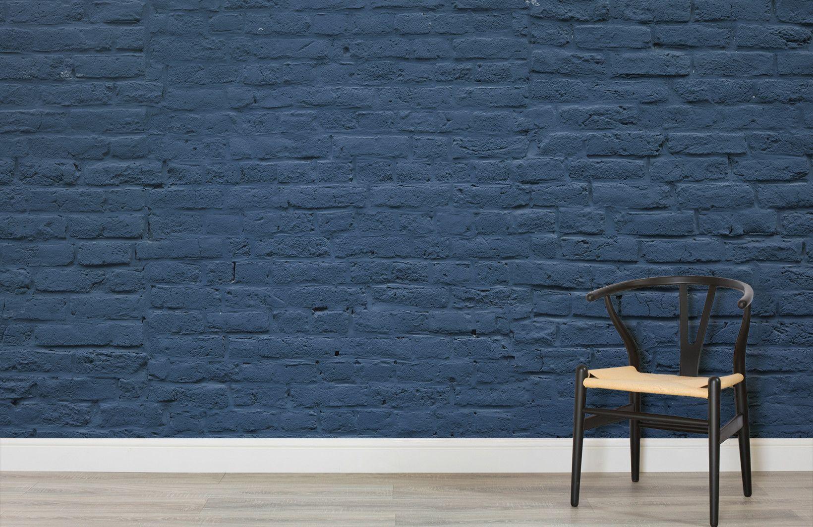 Deep Blue Brick Wall Mural Brick effect wallpaper, Brick