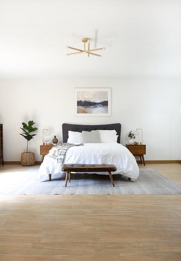 Wood Look Tile In A Modern Boho Bedroom Modernboho Bohemian Masterbedroom Modernbedroom Modern Boho Bedroom Wood Look Tile Floor Home Decor Bedroom