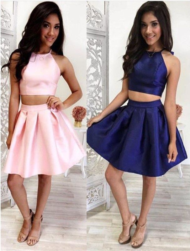 Simple Two Pieces Homecoming Dresse | Short homecoming dresses ...