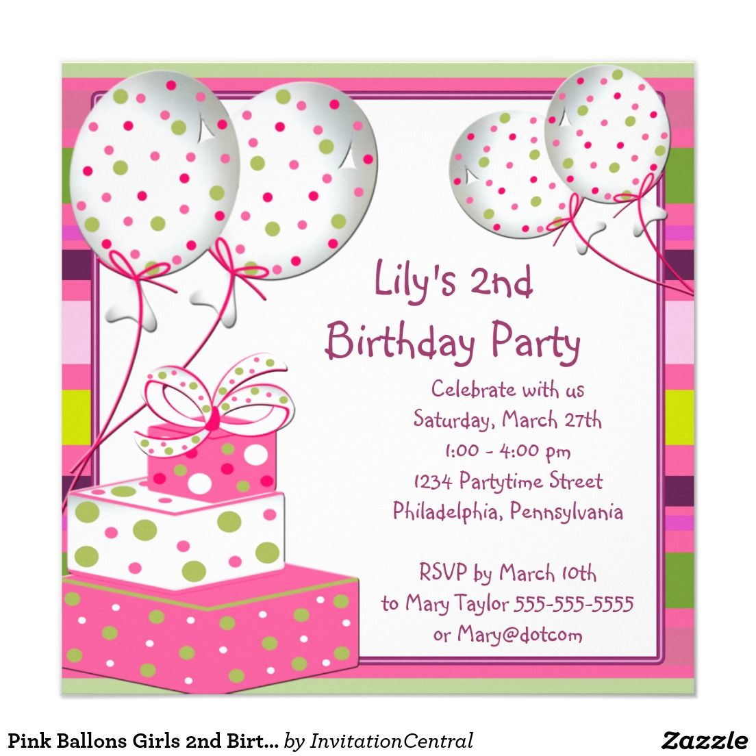 Pink Ballons Girls 2nd Birthday Party Invitation | Pinterest | Party ...