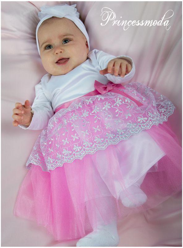 LULU - Besonders schönes Taufkleid in weiß-rosa-silber ...
