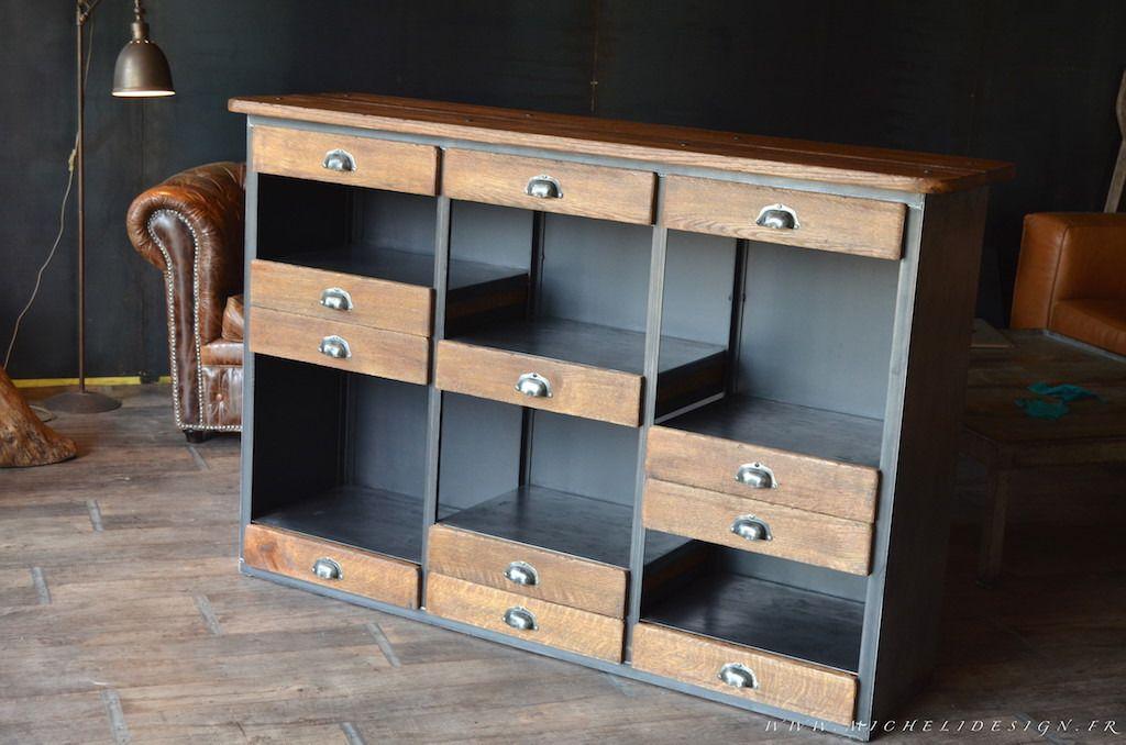 meuble bar comptoir bois m tal style industriel loft pinterest bar lofts and metals. Black Bedroom Furniture Sets. Home Design Ideas